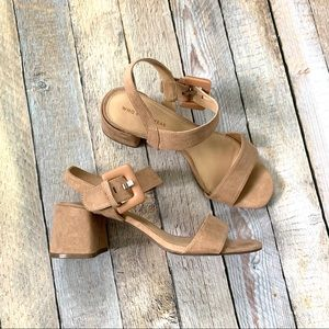 Who What Wear blush nude suede block heel 9.5